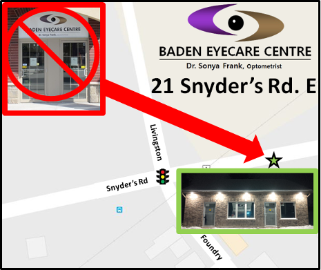 Baden Eyecare Centre now located at 21 Snyder's Road East in Baden